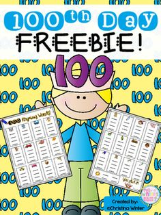 Day of School FREEBIE! 100 Rhyming Words perfect for a word work center. Celebrate 100 days of learning with this fun activity for your students. 100 Day Of School Project, 100 Days Of School, School Stuff, School Holidays, Graphing Activities, Kindergarten Activities, Fun Activities, Movement Activities, Kindergarten Reading