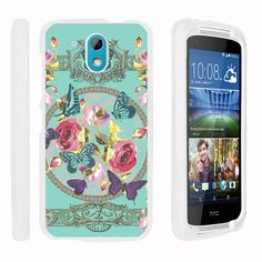HTC Desire 526G Case SNAP SHELL Hard White Plastic Case with Non Slip - Royal Flower Butterfly