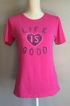c8315bd7a3f5 Life Is Good Love Heart Pink T Shirt Women's Size XS #LifeisGood #TShirt  Good
