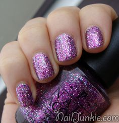 Purple sparkly nails. Love them!! <3