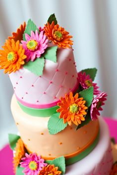 adorable pink and orange cake