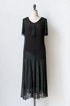vintage 1920s black chiffon lace dress | The Moor's Last Sigh Dress