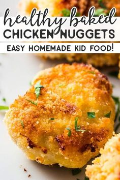 The Ultimate Healthy Baked Chicken Nuggets! Chicken Nugget Recipes Baked, Healthy Chicken Nuggets, Chicken Finger Recipes, Homemade Chicken Nuggets, Chicken Recipes For Kids, Healthy Baked Chicken, Baby Food Recipes, Cooking Recipes, Kids Chicken Nuggets