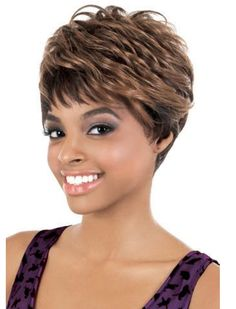 Mysterious Short Wavy Brown Full Bang African American Wigs for Women 10 Inch Short Cut Wigs, Short Human Hair Wigs, Short Wavy, Short Hair Cuts, Short Pixie, Wig Styles, Curly Hair Styles, Sweeping Bangs, Full Bangs