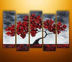 Amoy Art- Large Hand Painted Modern Oil Paintings on Canvas Maple Tree Swaying in the Wind Wall Art Set of 5 with Stretched and Framed Ready to Hang (12inx28inx5pcs)
