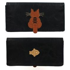 Kitty Cat Moving Tail Applique Black Wallet w/ Fish