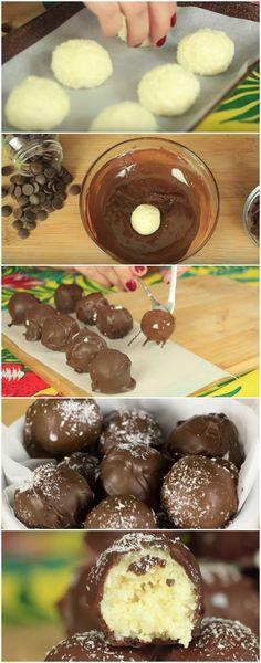 Bombons de Coco Extremamente Fáceis e Deliciosos! #bombom #bombomdecoco #coco #chocolate