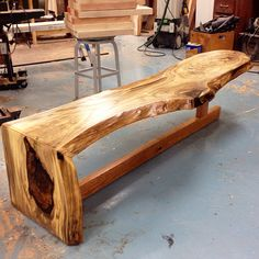 Waterfall edge bench