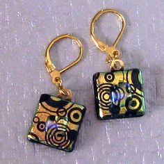 Gold Dichroic Earrings Fused Glass Jewelry by GlassMystique, $20.00
