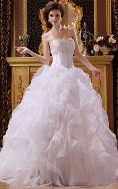 Kapelle Schleppe Perlenbesetztes Herz-Ausschnitt romantisches schwingendes Brautkleid