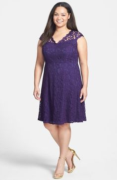 Free shipping and returns on Adrianna Papell Lace Fit & Flare Dress (Plus Size) at Nordstrom.com. A sheer-illusion yoke with a scalloped V-neckline beautifully frames the face for a lovely lace dress in a rich purple hue.