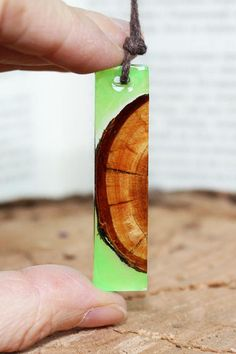 Gift For Her Green Resin Necklace Wood Pendant Gift Jewelry