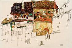 Bild:  Egon Schiele - Alte Häuser in Krumau
