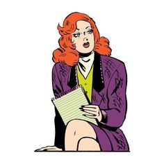 Brenda Starr, redheaded reporter and comic heroine, leaving the news... ❤ liked on Polyvore featuring doodles