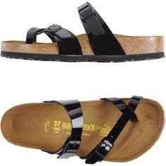 Birkenstock Thong Sandal (77 CAD) ❤ liked on Polyvore featuring shoes, sandals, black, black shoes, black buckle shoes, black sandals, buckle shoes and flat thong sandals