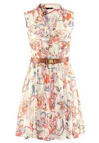 Beige Foam Sleeveless Floral Belt Chiffon Dress