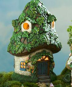 Look at this #zulilyfind! Miniature Fairy Garden Leafy Solar Fairy Cottage #zulilyfinds