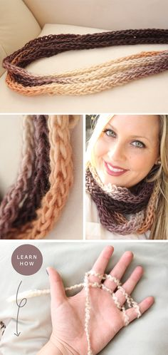 Pinner says: Finger knitted scarves. packages of yarn, enough to go around my neck 3 times really loose or even 4 times! Yarn Projects, Knitting Projects, Crochet Projects, Arm Knitting, Knitting Patterns, Crochet Patterns, Finger Knitting Scarf, Crochet Scarves, Knit Crochet