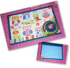 Cartão em scrap tema corujinhas, frente e interior