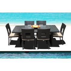 Outdoor Wicker Patio Furniture New Resin 7 Pc Dining Table Set with Chairs & Bench Set