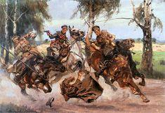 Polish cavalry skirmishing and besting some Cossacks during War Military Diorama, Military Art, Military History, Poland History, Art History, Napoleon Russia, Prisoners Of War, World War One, Dieselpunk