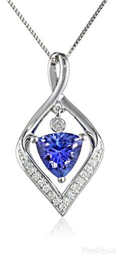 14K White Gold Tanzanite & Diamond Necklace