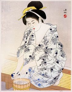 Art by Ito Shinsui A Woman after the bath. Japanese Artwork, Japanese Painting, Japanese Prints, Japanese Illustration, Illustration Art, Art Occidental, Geisha Art, Art Asiatique, Art Japonais