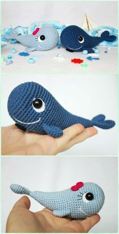 Blue Whale and Narwhal amigurumi patterns - Wollige Sachen ! Blue Whale and Narwhal amigurumi patterns Free Crochet Whale Pattern PDF Affiliate Link Crochet Whale, Crochet Fish, Cute Crochet, Baby Knitting Patterns, Crochet Amigurumi Free Patterns, Crochet Dolls, Knitting Toys, Afghan Patterns, Sewing Toys