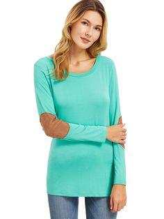 ROMWE - ROMWE Green Long Sleeve Elbow Patch T-Shirt - AdoreWe.com