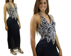 1980s sequin gown 1980s prom dress navy blue by vintagerunway, $89.00