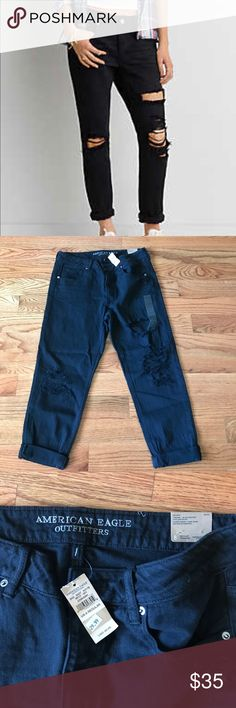 American Eagle Black Tom Girl Jeans NWT New with tags black Tom Girl Jeans by American Eagle. These are a size 8 but they run really big...would best fit a size 10. American Eagle Outfitters Jeans