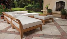 Teak Wood Deep Seating Outdoor Sectional Sets from Westminster Teak Outdoor Furniture. All of our Teak Sectionals feature high quality Sunbrella Cushions and Quick Dry Foam Cores. Lifetime warranty applies to all teak wood sectionals. Wood Patio Furniture, Outdoor Patio Furniture, Teak Furniture, Teak Wood Furniture, Teak Outdoor, Outdoor Furnishings, Outdoor Patio Furniture Sets, Teak Outdoor Furniture, Teak Dining Furniture