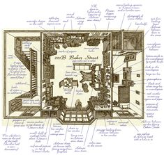 """A Floorplan of 221B Baker Street by artist Russell Stutler, an American living in Tokyo. It says that the floorplan was """"drawn from notes taken while reading all 60 Sherlock Holmes stories twice in a row..."""" and that if it's in the stories, it's in this floorplan."""