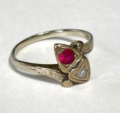 Antique 14K Gold Diamond & Ruby Ring Double Heart Setting | Etsy 14k Gold Ring, Gold Rings, Real Gold Jewelry, Two Hearts, Diamond Stone, Heart Ring, Two By Two, Antiques, Vintage