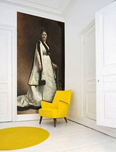 Juxtaposition: Antique Portraits in a Modern Setting Oversized Wall Art, Dream Rooms, Oeuvre D'art, Decoration, Typography Design, Exterior Design, Wall Murals, Design Inspiration, House Design