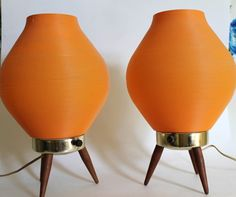 Mod Vintage Orange Lamps with Wood Legs by greenbeing on Etsy, $85.00