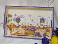 """Кухня ручной работы. Ярмарка Мастеров - ручная работа. Купить Поднос """"Лавандовое утро"""". Handmade. Фиолетовый, лавандовое поле"""