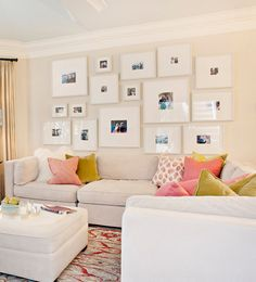 Neutral backdrop, punches of color, gallery wall composition