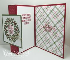 Easy Fold Back Front Card Stampin Up Christmas Cards Holiday Wreath Berries - Wondrous Wreath - Z-Fold