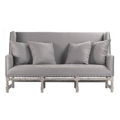 Smokey Gray Nail Studded Settee French Sofalove