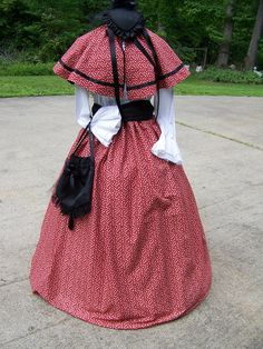 Civil War Dress Long SKIRT with Cape and Black by civilwarlady, $99.99