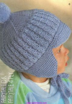 A cap with a visor for the boy (knitting needles). Discussion on LiveInternet - Russian Online Diaries Service Baby Hats Knitting, Knitting For Kids, Baby Knitting Patterns, Crochet For Kids, Baby Patterns, Free Knitting, Knitting Projects, Knitted Hats, Knit Crochet