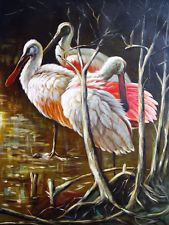 Animals Oil Painting on canvas  - LES PELICANS size 30x40