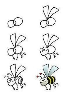 How to draw a bee. Students can draw bees on blank bookmarks. Bee a reader! How to draw a bee. Students can draw bees on blank bookmarks. Bee a reader! Bee Drawing, Drawing For Kids, Painting & Drawing, Art For Kids, Drawing Step, Drawing Faces, Drawing Birds Easy, Drawing Ideas, Drawing Flowers