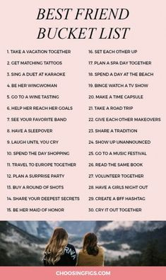 Best Friend Bucket List: 30 Things To Do With Your Best Friend You & your bestie do everything together. Do you have a best friend bucket list? A bff bucket list is a list of must-do things to do with your best friend. Best Friend Bucket List, Bucket List For Teens, Best Friend Goals, Best Friend Quotes, Best Friend Things, College Bucket List, Friends List, List Of Things, Gift For Best Friend