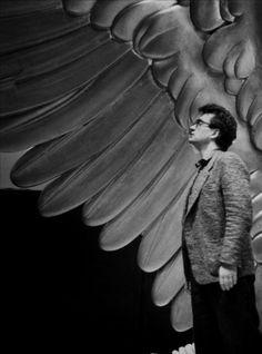 Wim Wenders on the set of Wings Of Desire (1987).