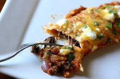 portobella and black bean enchiladas with roasted poblano sauce