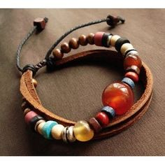 DIY vintage features hand-beaded bracelet cow leather cord red big bead colorful - 1stepbuy