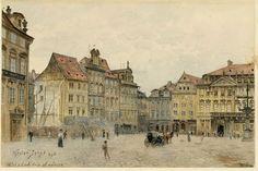 poboh: Staroměstské náměstí. Pohled k Dlouhé třídě od radnice / Old Town Square. Looking for Long Avenue from City Hall, 1896, Jansa Václav. (1859 - 1925)