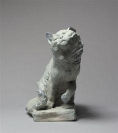 The Cat by Jean DAMPT (1854-1945), 1896, made by Emile Müller Factory, Paris, Orsay museum Three Dimensional, Stoneware, Lion Sculpture, Museum, Statue, Paris, Cat, Montmartre Paris, Cat Breeds